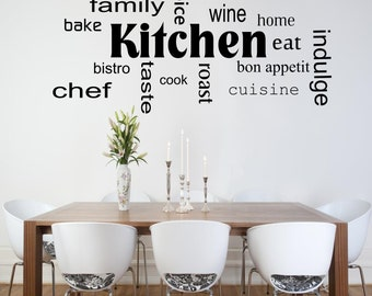 Kitchen Words Phrases Wall Art Sticker Room Lounge Quote Decal Mural  Stencil Transfer Wall Stickers WSD442