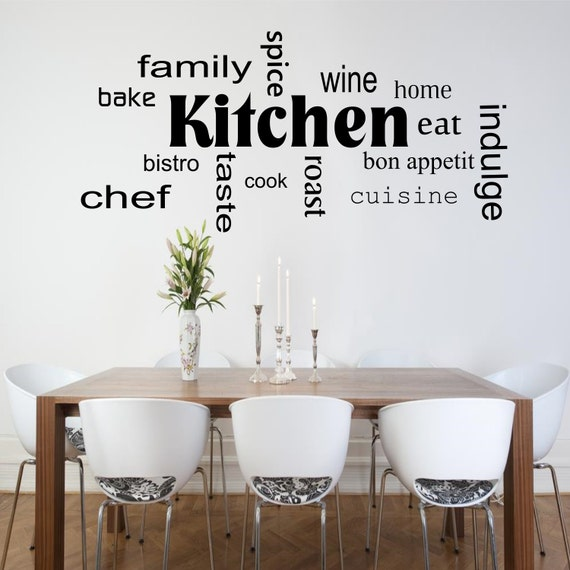 cuisine mots phrases mur art sticker chambre salon devis. Black Bedroom Furniture Sets. Home Design Ideas