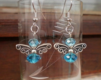 Blue and Red Bees Earrings, bee Butterfly Crystal Beaded Dangle Earrings Handcrafted Unique Design Original Gift Jewelry