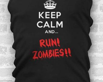 Keep Calm And Run Zombies // Mens Tanks // Halloween Costume // Costume // Funny T Shirt // Mens Costume // Cosplay // Running Tank