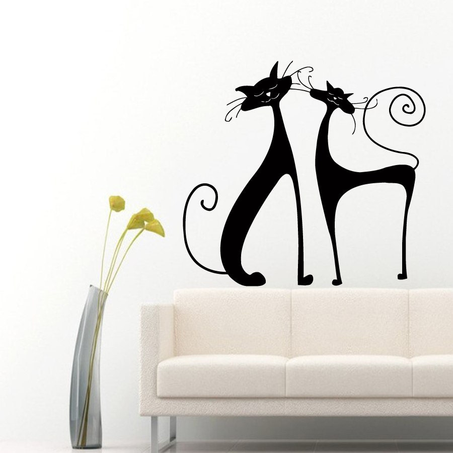 cat wall decals kitten two cute cats animals by