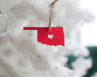 Oklahoma State Ornament - I heart Oklahoma - Red Felt - Oklahoma Ornament Soft Felt Ornament Christmas Tree Handmade Heart Cutout