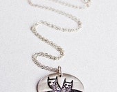 Twin Owls Necklace - Twin Necklace Twin Jewelry - Mother of Twins Jewelry / Necklace