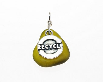 Recycle Pendant - Olive Green Sea Glass & Sterling Silver Charm