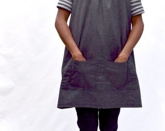 SALE, Artist's Smock in Hemp/Recycled Polyester/Spandex Chambray