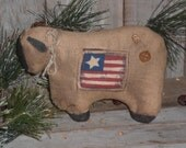 1 Primitive Rustic Americana Patriotic USA Flag July 4 - Country Sheep Reversible Bowl Filler Ornie Tuck Shelf Sitter