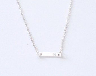 Tiny Initial bar necklace - personalized bar - sterling silver bar - delicate silver necklace - minimalist jewelry - Initial Dash silver