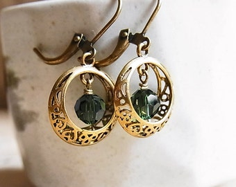 Antique Brass Filigree Pocket Ear-rings // Swarovski Tourmaline Crystal Beads // Antiqued Brass Lever-back Ear-wires (One Pair)