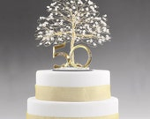 "50th Anniversary Cake Topper Gift Decoration Birthday Idea Tree in Clear Quartz Crystal and Gold Tone Wire - 8"" wide  9"" tall with 5"" Base"