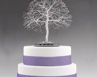 Tree Cake Topper with Swarovski Crystal Elements Purple Velvet, Amethyst, Jet Black on Silver tone Wire Decor Wedding Cake Topper Gothic