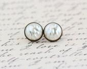 Post Earrings, Pearl Stud Earrings, Brass Post Earrings, Elegant Earrings, Vintage Pearl Cabochon Earrings,, Gift For Woman, Valentines Gift