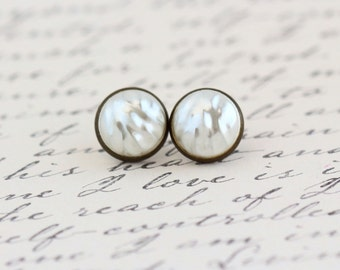 Post Earrings - Pearl Stud Earrings - Brass Post Earrings - Elegant Earrings - Vintage Pearl Cabochon Earrings - - Gift For Woman