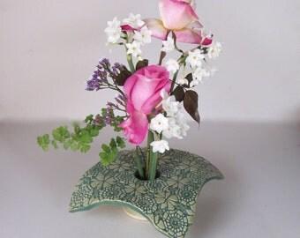 Ceramic Vase . Draped Doily Ikebana Vase . Handmade Pottery . Kiln Fired Pottery . Pin Frog Vase