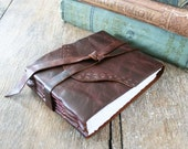 Leather Journal / Sketchbook / Guestbook  . Rustic, Small & Chunky . hand embossed . handmade handbound . dark brown   (320 pgs)