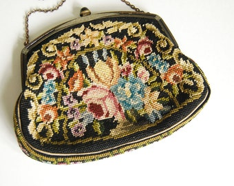 Austrian Needlepoint Purse, 1930s Petit Point Purse, Tapestry Purse, Vintage Needlework, Black Floral Evening Bag, Folk Art Accessories