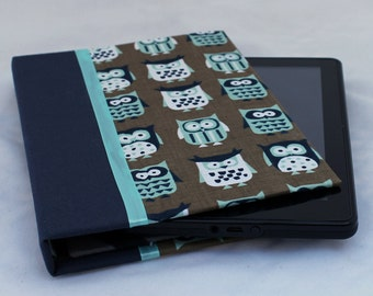 Kindle Fire HDX Case, Kindle Fire HD Cover, Hardcover Nexus 7 Case, Samsung Galaxy, Nook Tablet HD Cover, Blue Owls Personalized
