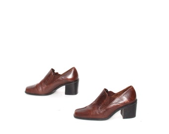 size 8.5 CHELSEA brown leather 80s 90s MINIMAL slip on ankle boots