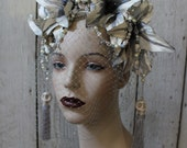 The Grey Lady - Headdress of handpainted Grey Lilies, Howlite Skulls, vintage Pearls, Swarovski Crystals and Vintage Lace - To Order