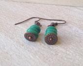 Boho Chic Green Earrings Handmade Jewelry Metalwork Tribal Copper San Diego California USA Kila Rohner