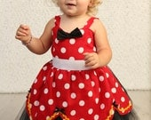 SALE red MINNIE MOUSE dress  tutu Party Dress  in Red  Polka Dots  with black and yellow  dress 1st Birthday party 6/12m 18/24m 2/3t