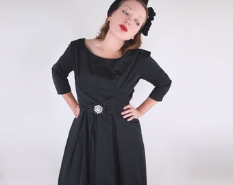 50s Gorgeous Black Satin Full Skirt Dress with Rhinestone Pin S M