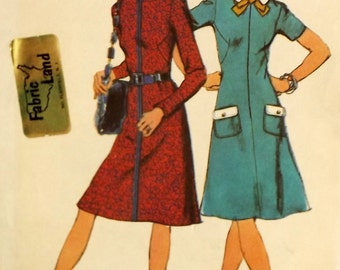 Vintage 70's Sewing Pattern, Misses' Dress, Size 10