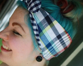 Retro/Rockabilly/Vintage/Pinup styled head scarf/bandana/dolly bow! Cotton, cute bow, reversible!