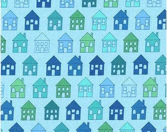 Houses Blue Green Brewer Fabric 1 yard