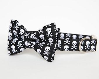 Dog Bow Tie Collar - Skull and Bones