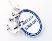 Hello Sailor Nautical Anchor Silver Pendant Necklace Navy Blue White Beach