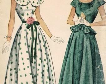 1940s Simplicity 2840 Vintage Sewing Pattern Teen's Formal Dress, Detachable Peplum Size 12 Bust 30