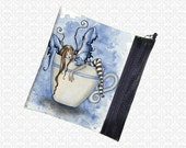 Amy Brown I need coffee, cute fairy bag, zippered pouch wristlet, travel bag,