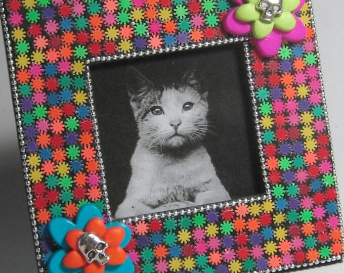 SALE - Mosaic Frame, Skulls Repurposed Frame, Day of the Dead Frame, Dia de los Muertos Frame, Skull Frame, Black Neon Square Frame