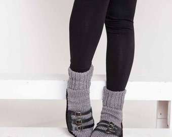 Knit Slipper Sock Adult Sandal Sock Faux Sandal Gray House Slippers Grey Womens Slippers Home Slippers Black House Shoes Home Shoes
