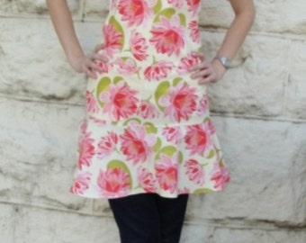 Womens full apron retro style pink floral