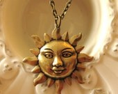 SUN NECKLACE Antique Gold summer necklace sun jewelry spring necklace summer fashion sunrise necklace sun pendant  happy necklace vintage