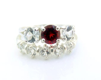Wedding Ring Set Garnet White Topaz Three Stone January Birthstone Made To Order