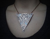 Etched Copper Jewelry - Rose rising out of rocks and crystals  - Copper Pedant - Rose necklace- handmade in Austin, Tx