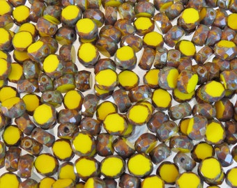 8mm Faceted Opaque Yellow Picasso Table Cut Firepolish Czech Glass Beads - Qty 25 (BS661)