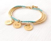 Minimalist Beaded Gold Bracelet - Personalized Monogram Initials, Heart, Cross, Crossed Arrows - Set of 3 - The Skinny: Trio Turquoise