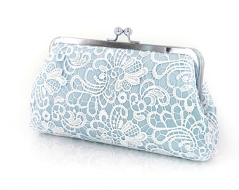 Baby Blue and White Flower Lace Bridal Bridesmaid Clutch on Silver frame 8-inch GALA