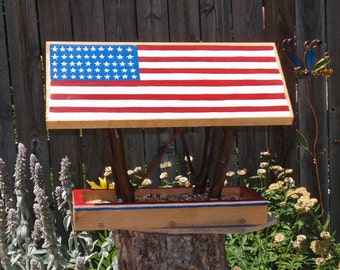 Bird Feeder - Covered Bridge style Open Air Persnickety AMERICANA  Bird Feeder built with Reclaimed Wood And Branches