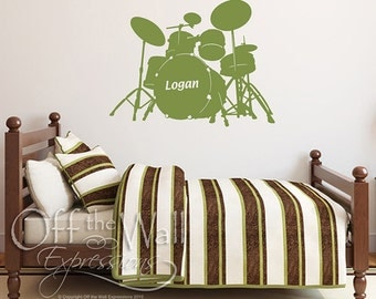 Personalized Drum Set vinyl decal, bedroom wall sticker, kids room monogram, drummer decal