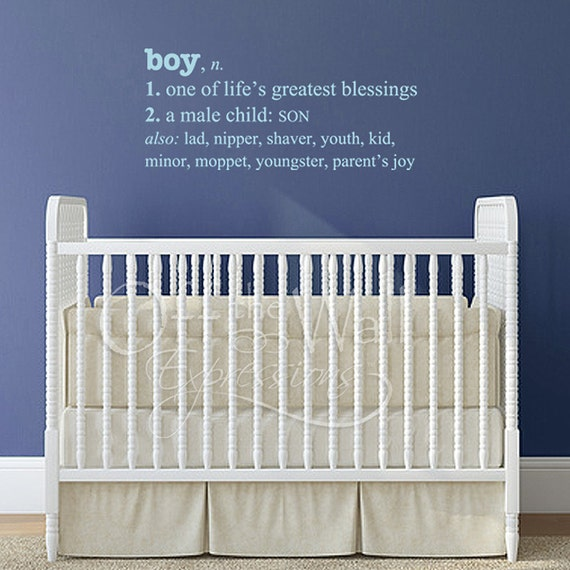 Boy Definition, nursery room sticker, children's room, life's blessing, dictionary decal