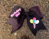 Birthday girl cheer bow rhinestones glitter vinyl