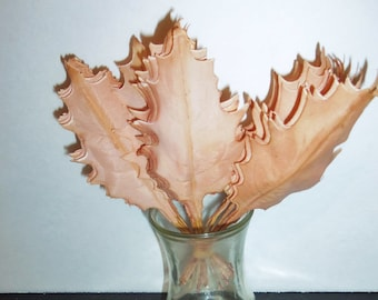 Millinery Flower Oak Leaves Hat Trim Floral Corsage Supplies Sienna Brown to Peach Blush Ombre hand-dyed