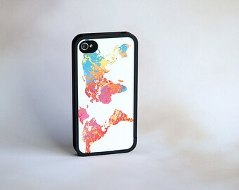 Neon World Map Custom Bumper iPhone Case + Colorful Map, iPhone 5, 5s, 6, 6s Case