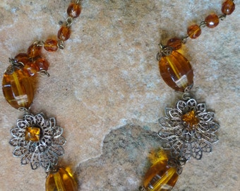 SALE--Antique Amber Glass Necklace one of a kind beauty