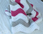 Crochet Baby Blanket - Hot Pink and Gray - Chevron Baby Blanket - Pink Gray Nursery - Chevron Bedding - Bright Pink - Baby Blankets