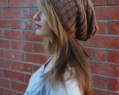 Slouchy Unisex Beanie //  Knit Slouchy Brown Hipster Hat // Knit Hat // Fall accessories // Fall Beanie